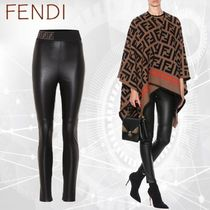 FENDI Plain Leather Leather & Faux Leather Pants