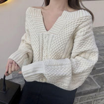 Casual Style Wool V-Neck Long Sleeves Plain Medium Sweaters