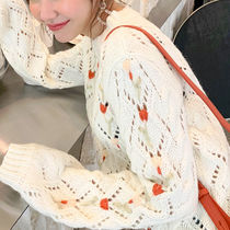 Cable Knit Flower Patterns Casual Style U-Neck Long Sleeves