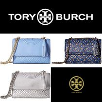 Tory Burch Flower Patterns Casual Style Unisex Street Style Leather