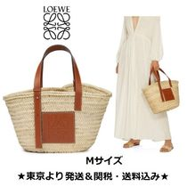 LOEWE Blended Fabrics A4 Plain Leather Handmade Straw Bags