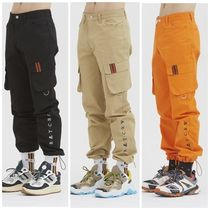 ROMANTIC CROWN Unisex Street Style Plain Cotton Cargo Pants