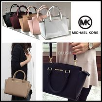 Michael Kors SELMA Saffiano 2WAY Plain Elegant Style Handbags