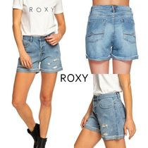 ROXY Short Casual Style Denim Denim & Cotton Shorts