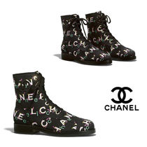 CHANEL Monogram Tweed Ankle & Booties Boots
