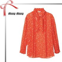 MiuMiu Star Casual Style Long Sleeves Shirts & Blouses