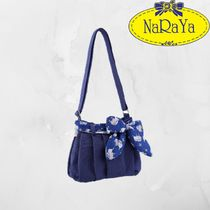 NARAYA Flower Patterns Casual Style Canvas Plain Shoulder Bags