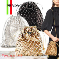 PRADA Blended Fabrics 2WAY Chain Plain Elegant Style Shoulder Bags