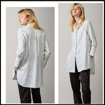 Massimo Dutti Stripes Casual Style Long Sleeves Long Shirts & Blouses