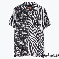 Ron Herman Skull Zebra Patterns Unisex Cotton Short Sleeves Handmade