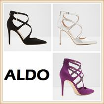 ALDO Faux Fur Plain Pin Heels Elegant Style Heeled Sandals