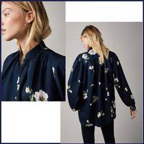 Massimo Dutti Flower Patterns Long Sleeves Elegant Style Shirts & Blouses