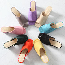 Open Toe Casual Style Suede Plain Chunky Heels