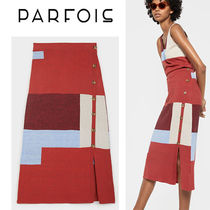 PARFOIS Casual Style Plain Cotton Medium Midi Skirts