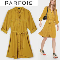 PARFOIS V-Neck Long Sleeves Medium Shirt Dresses Dresses