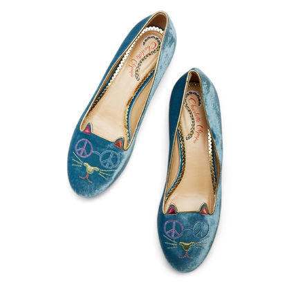 PEACEFUL KITTY flat shoes velvet blue & gold