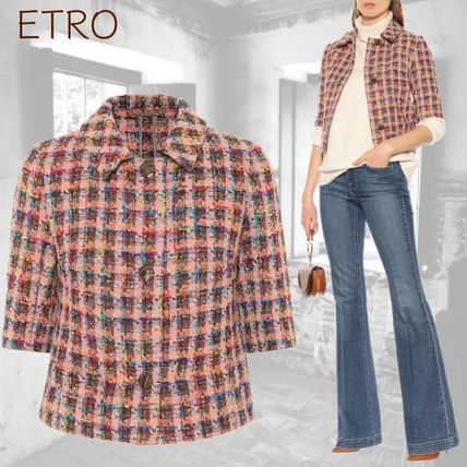 Short Other Check Patterns Tweed Blended Fabrics