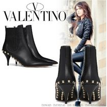 VALENTINO Studded Plain Leather High Heel Boots