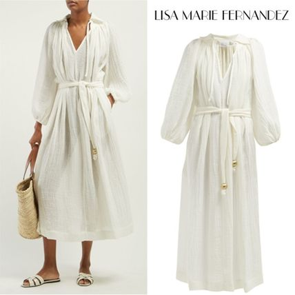 Casual Style Maxi Linen V-Neck Long Sleeves Plain Long