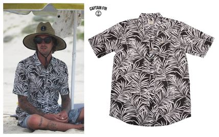 Tropical Patterns Bi-color Cotton Short Sleeves T-Shirts