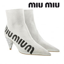 MiuMiu Casual Style Plain Leather Block Heels Ankle & Booties Boots