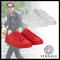VERSACE Street Style Plain Leather Sneakers