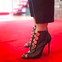 Christian Louboutin Open Toe Blended Fabrics Plain Leather Pin Heels