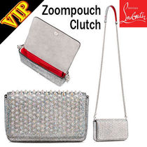Christian Louboutin Calfskin Studded 2WAY Chain Elegant Style Clutches
