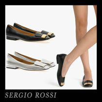 Sergio Rossi Square Toe Plain Leather Office Style Flats