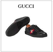 GUCCI Unisex Street Style Plain Leather Sneakers