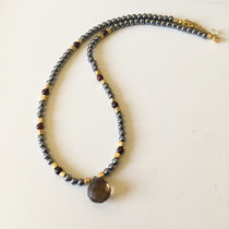 Terahertz Purification Necklace Garnet&SmokyQuartz