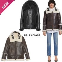 BALENCIAGA Short Fur Plain Fur Leather Jackets Cashmere & Fur Coats