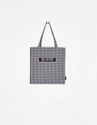 Gingham Unisex Canvas Street Style A4 Shoppers
