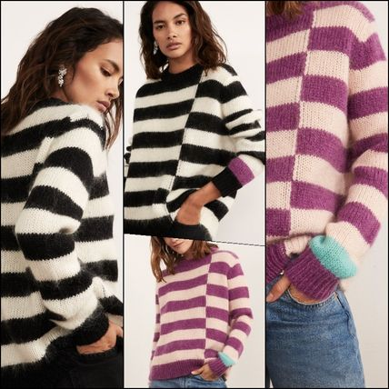 Crew Neck Stripes Casual Style Wool Long Sleeves Sweaters