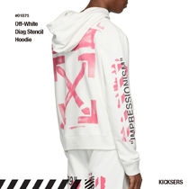 Off-White Pullovers Unisex Street Style Long Sleeves Cotton Hoodies
