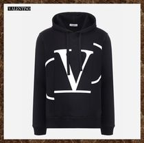 VALENTINO Pullovers Street Style Long Sleeves Cotton Oversized Hoodies