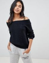 Abercrombie & Fitch Cable Knit Casual Style Street Style Boat Neck Long Sleeves