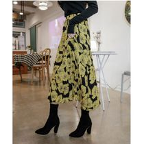 Flower Patterns Casual Style Pleated Skirts Long Maxi Skirts
