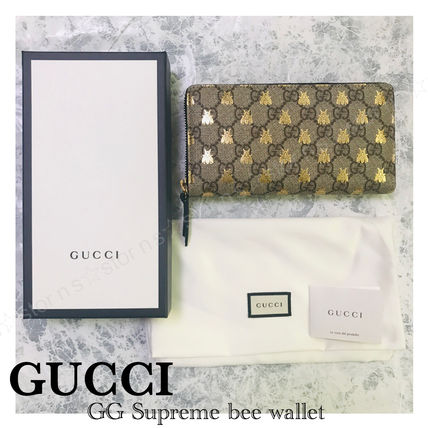 more photos 3550b 5681b GUCCI GG Supreme 2019 SS Monogram Leather Long Wallets