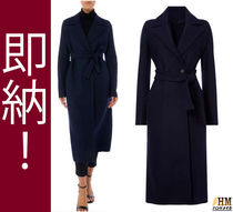 MaxMara Wool Plain Long Midi Office Style Wrap Coats