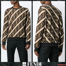 FENDI FOREVER Crew Neck Monogram Street Style Long Sleeves Cotton
