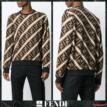 e2594d676b ... FENDI Sweatshirts Crew Neck Monogram Street Style Long Sleeves Cotton  ...