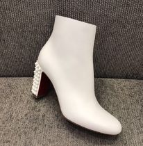 Christian Louboutin Studded Plain Leather Chunky Heels Ankle & Booties Boots