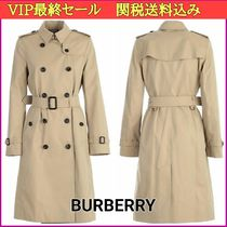 Burberry THE KENSINGTON Other Check Patterns Long Midi Elegant Style Trench Coats