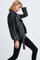 ZARA Leather Oversized Biker Jackets