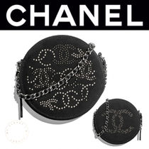 CHANEL ICON Monogram Canvas Studded 2WAY Chain Elegant Style Clutches