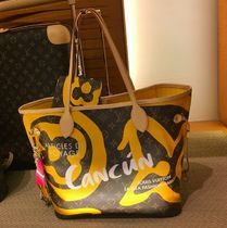 Louis Vuitton NEVERFULL Monogram Casual Style A4 Leather Shoulder Bags