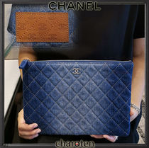 CHANEL ICON Unisex Canvas Blended Fabrics Bag in Bag 2WAY Plain Clutches