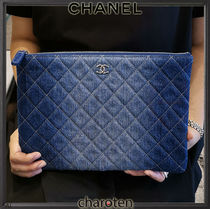 CHANEL ICON Unisex Canvas Denim Blended Fabrics Bag in Bag 2WAY Plain