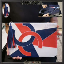 CHANEL ICON Unisex Lambskin Tassel Bag in Bag 2WAY Bi-color Plain